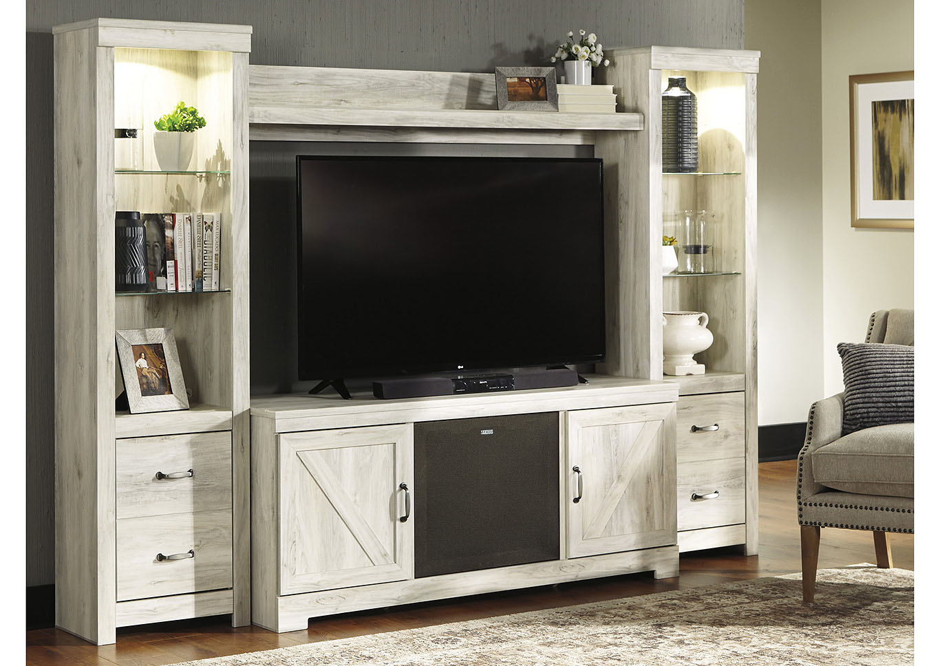 Bellaby Whitewash Entertainment Center w/Black Large Integrated Audio,Signature Design By Ashley