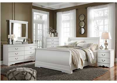 Anarasia White Queen Sleigh Bed w/Dresser & Mirror