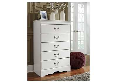 Anarasia White 5 Drawer Chest