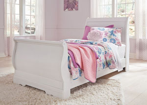 Anarasia White Twin Sleigh Bed