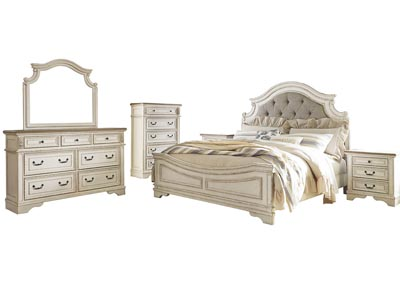 Realyn Chipped White King Panel Bed and Dresser w/Mirror