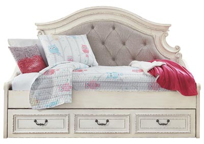 Realyn Chipped White Daybed Storage