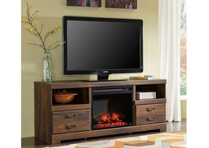 Quinden Large TV Stand w/LED Fireplace Insert
