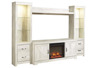 Bellaby Whitewash Entertainment Center w/Black Fireplace Insert