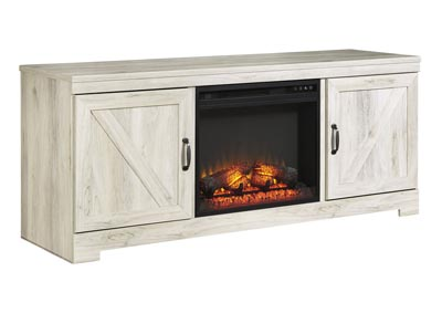 Bellaby Whitewash LG TV Stand w/Black Fireplace Insert